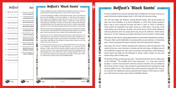 Belfast's 'Black Santa' Differentiated Reading Comprehension Activity