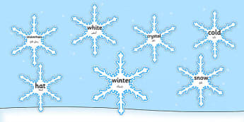Winter Words on Snowflakes Arabic Translation - arabic, Snowflake, display, poster, posters, snow, winter, frost, cold, ice, display words