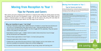 Transition to Year 1 Parent and Carer Information Sheet - Reception, Key Stage 1, KS1, Y1, emotional support