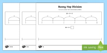 Bunny Hop Division by 3  Differentiated Activity Sheets - Repeated Subtraction, Number Line, Divide, Share, Steps