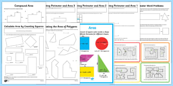 Area and Perimeter - Maths Resources, maths, numeracy, area, perimeter, shape, ks2, units of measure, centime