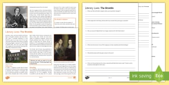 Literary Lives: The Brontës Differentiated Reading Comprehension Activity  - Comprehensions KS3/4 English, Charlotte Bronte, Emily Bronte, Anne Bronte, Branwell Bronte, Patrick