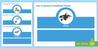 Sea Creature Oral Language Headband Game Gaeilge - cluiche teanga, ag caint, gaeilge, uisce, farraige, ,Irish