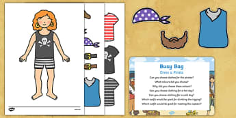 Dress a Pirate Busy Bag Prompt Card and Resource Pack