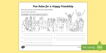 Five Rules for a Happy Friendship Activity Sheet - young people, relationships, PSHCE, emotions, transition, worksheet, friend