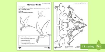 Pterosaur Model Activity Sheet - amazing fact august, kS1, paper craft, dinosaurs, Cutting skills, worksheet