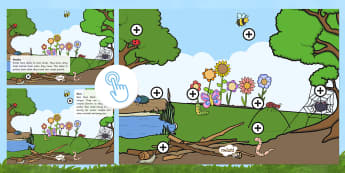 Minibeast Facts Picture Hotspots - information, insects, bugs, creepy crawlies, spider, ant, butterfly, caterpillar, bee, ladybird, Twinkl Go, twinkl go, TwinklGo, twinklgo
