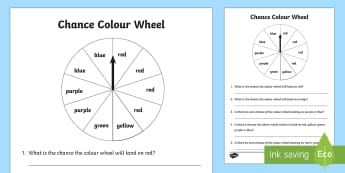 Year 1 Chance Colour Wheel Activity Sheet - Australian Curriculum Statistics and Probability, chance, ACMSP024, Year 1, will happen, won't happ