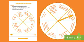 Reading Comprehension Questions Spinner Game - literacy, reading, reading comprehension, game, reading questions,spinner, guided reading