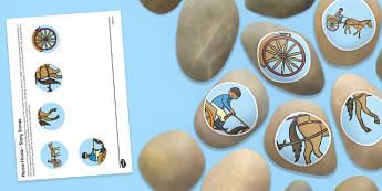 Horsie Horsie Story Stone Image Cut-Outs - Story stones, stone art, painted rocks, Nursery Rhymes