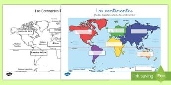 Los continentes Ficha de actividad - continentes, geografía, ciencias sociales, conocimiento del medio, mapa del mundo, mapa, europa, as