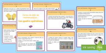 Cartes de défis de mathématiques : Les quatre opérations - Mathématiques, KS2, Maths, addition, soustraction, multiplication, division problème, résoudre, p