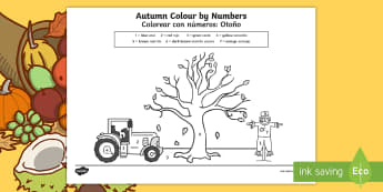Autumn Colour by Numbers - English/Spanish - Autumn Themed Colour by Numbers - seasons, weather, colouring, autmn, autunm, atumn, waether, numbes