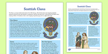 Scottish Clans Fact Sheet - cfe, scottish clans, fact sheet, facts, scottish