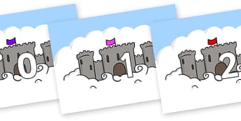 Numbers 0-50 on Castles - 0-50, foundation stage numeracy, Number recognition, Number flashcards, counting, number frieze, Display numbers, number posters
