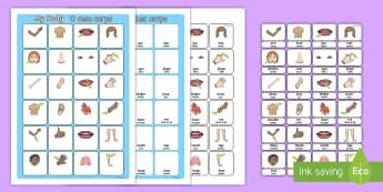 My Body Vocabulary Matching Mat English/Portuguese  - my body, vocabulary poster, poster, my body vocabulary, display poster, information poster, poster f