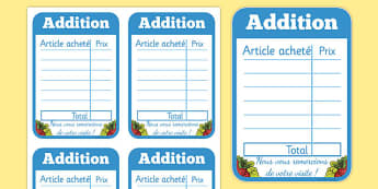 Restaurant Role Play Receipt French - EAL, translated, bill
