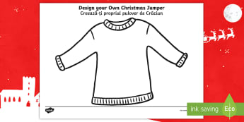 Christmas Jumper Design Activity Sheet English/Romanian - christmas, activity, design, worksheet, EAL