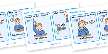 Work Help Flashcards - Behaviour management, rules, card, flashcard, table rules, I'm ok, I need help, help signs, calming strategies, think what I am saying, count to 10, deep breath, good hands and feet