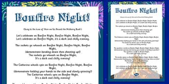Bonfire Night Action Rhyme Poster - bonfire night, action, rhyme, poster, display