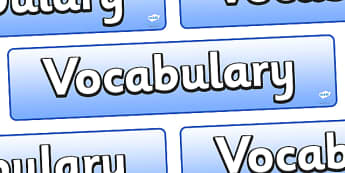 Vocabulary Display Banner - vocabulary, display, banner, sign, poster, vocab, words, key words, important