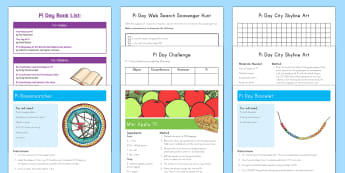 Pi Day  Resource Pack - Pi Day,March, 14th, 3.142, math, number, circumference, craft, activity, pack, challenges