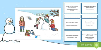 Winter Scenes and Question Cards Pack English/Italian - Winter Scenes and Question Cards Pack - winter scenes, question cards, pack, wnter, wintre