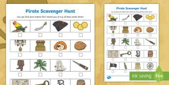 Pirate  Scavenger Hunt - hunt, scavenger, natural materials, outdoors, forest school, pirates