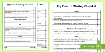Recount Writing Student Checklist - Literacy, Recount Writing Student  Checklist, australia, australian curriculum, naplan, checklist, r