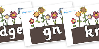 Silent Letters on Flowers in Garden - Silent Letters, silent letter, letter blend, consonant, consonants, digraph, trigraph, A-Z letters, literacy, alphabet, letters, alternative sounds