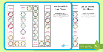 Jeu de société : Heure(s), et demi(e) - Lire l'heure - L'heure,time,, jeu de société, board game, et demi, half past, o'clock
