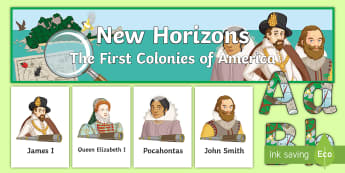 New Horizons Display Pack - America, England, Colonies, Virginia, Roanoke, Pilgrims, Puritans, Plymouth Rock, Jamestown, Pocahon