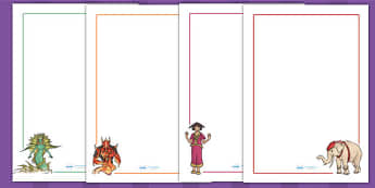 The Firework Makers Daughter Page Borders - writing templates