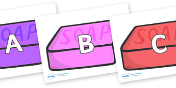 A-Z Alphabet on Soap (Multicolour) - A-Z, A4, display, Alphabet frieze, Display letters, Letter posters, A-Z letters, Alphabet flashcards