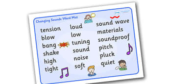 Changing Sounds Word Mat - changing sounds word mat, changing sounds, sounds, word mat, mat, writing aid, tension, blow, bang, loud, quiet, materials, sound wave, tuning, soundproof, low, high