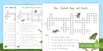 New Zealand Bugs and Insects Crossword - bugs, insects, minibeasts, New Zealand, crossword
