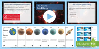 The Planets Speed Dating - Speed Dating, planets, mars, earth, venus, mercury, jupiter, starter activity