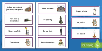 KS2 The Victorians-Themed Class Charter Cards - rules, behaviour, british history, back to school, display