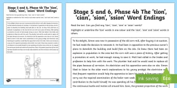 Northern Ireland Linguistic Phonics Stage 5 and 6, Phase 4b 'tion/cian/sion' Sound Activity Sheet - NI, tion, cian, sion, ssion, word endings, sound search, text, phonics