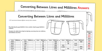 Converting Between Litres and Millilitres Activity Sheet - converting, litres, millilitres, activity, worksheet