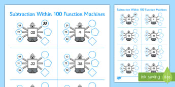 Subtraction Within 100 Function Machines - CfE, Function Machines, subtraction, maths