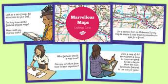Marvellous Maps Challenge Cards - marvellous maps, challenge, cards