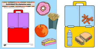 Healthy Eating Lunch Activity Spanish - spanish, healthy, healthy eating, sort, activity, fruit, game, how to eat healthy, vegetable, healthy snack, lunch, snack time, snack, food, sorting