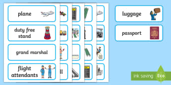 The Airport Word Cards - summer, airport, holidays, plane, transport, my area, oral language, discussion, english, travel,tou