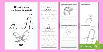 """Scrierea literelor """"ă"""" și """"Ă"""" de mână Broșură cu activități - alfabetul, scriere, litere, de mână, grafisme"""