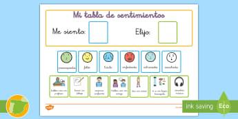 Tabla: Mis sentimientos - emociones, sentimientos, tabla, recompensas, NEE, autismo, ,Spanish