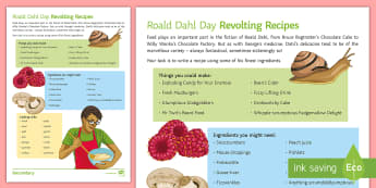 Revolting Recipes Activity Sheet - Roald Dahl Day, cooking, writing to instruct, instructions, bFG, Charlie and the Chocolate Factory,