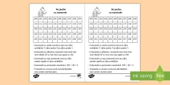 Ne jucăm cu numerele Fișă de lucru - matematică, numere, numerație, tabel, joc, colorează, zeci, unități,Romanian
