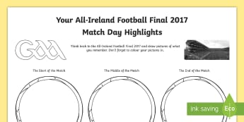 All-Ireland Football Final 2017 Match Highlights Activity Sheet - RoI, GAA, All ireland, final 2017, football, mayo, dublin, Match Highlights, Drawing, worksheet, act