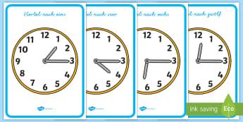 Analoguhren viertel nach Poster für die Klassenraumgestaltung - Uhr, Uhrzeit,15, Zeit, Viertelstunde,,German